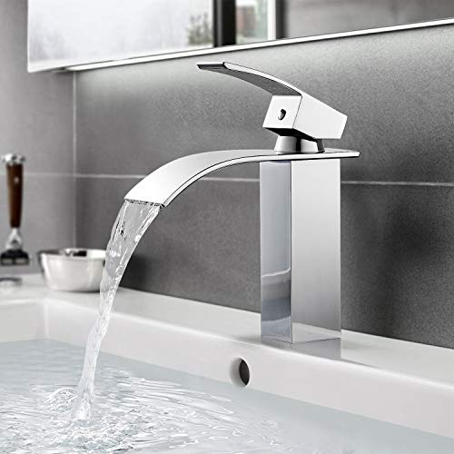 BONADE Badarmatur Wasserfall Wasserhahn Chrom Waschtischarmatur für Bad Mischbatterie Waschbecken Armatur Messing Einhebelmischer für Badezimmer