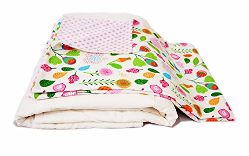 Cotton Flower Toddler Quilt (Quilt +Duvet Cover),Warmer, (Flower Song)