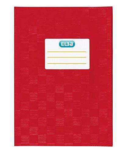 Elba Hefthüllen A5, Baststruktur, mit Beschriftungsetikett, rot, 10 Stück