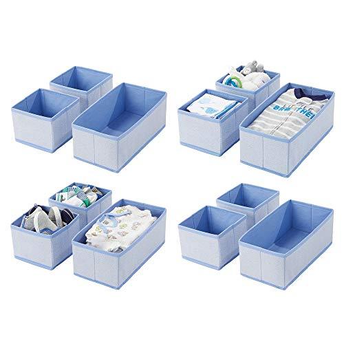 mDesign 12er-Set Aufbewahrungsbox – atmungsaktive Stoffbox mit Fischgrätmuster für Windeln, Lätzchen etc. – vielseitige Schubladen Organizer für das Kinderzimmer – blau