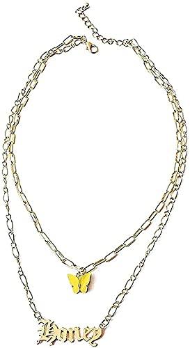 WYDSFWL Collar Collares con Nombres Bohemios para Mujeres y niñas Collar con Colgante de Mariposa Dorada Collar Joyas Regalos