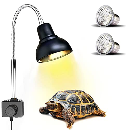 PewinGo Lámpara para Tortuga , Lámpara de Reptiles y Anfibios con 2 Bombillas de Luz Solar UVA UVB de 25 W y Abrazadera Giratoria de 360 °Adecuada