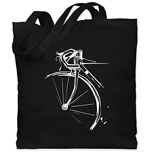 Shirtracer Fahrrad Bekleidung Radsport - Fahrrad vintage effekt - Unisize - Schwarz - stoffbeutel fahrrad - WM101 - Stoffbeutel aus Baumwolle Jutebeutel lange Henkel