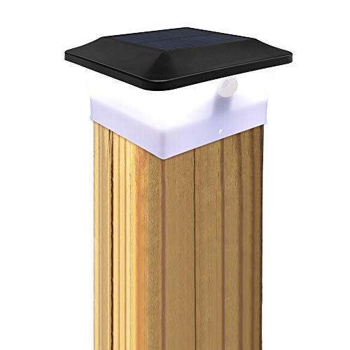 Solar Pfostenkappen Leuchte, GEYUEYA Home Solar Zaunpfosten Lampe mit Bewegungssensor, IP65 Wasserdicht Solar Säulenlampe Landschaft Lampe für Zaunpfosten, Leitplanke, Treppe, Deck(10cm*10cm)