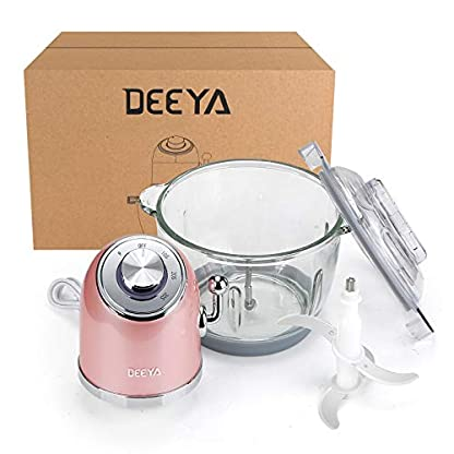 DEEYA-Zerkleinerer-300W-Elektrisch-Universalzerkleinerer-mit-Glasbehaelter-DEEYA-300W-Integrierter-Multi-Zerkleinerer-3-Timing-2-Geschwindigkeitsstufen-Elektrischer-Lebensmittelhacker-2L-Glasbehaelter