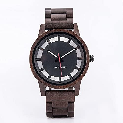 yuyan Reloj de Madera Moda para Hombre Ebony Simple Hecho a Mano Movimiento japonés Dial Silver Dial Watch Elegante Lujo de Lujo Natural de Salud Natural