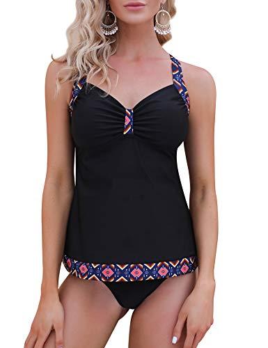 IrevialTankini Damen Bauchweg klassisch Zweiteiler Bikini Set Strand Badeanzug,Schwarze geometrische Kante,L