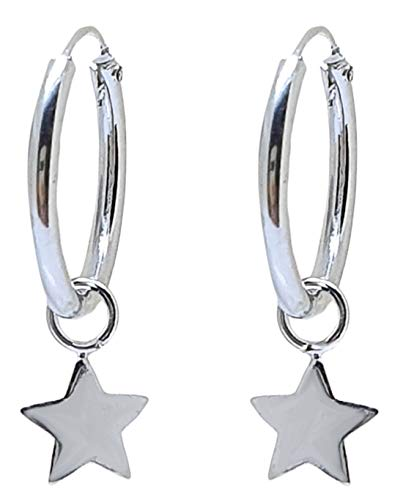 Pendientes Aro con Colgante de Plata de Ley 925 Estrella