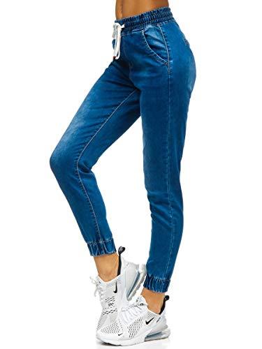 BOLF Damen Jeanshose Jeans Jogger Denim Style Used Look Jeanspants Sweatpants Destroyed Freizeit Narrow Leg Slim Fit Casual Style M.SARA SJ103 Dunkelblau XS [F6F]