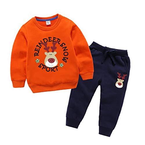 WENBOH Kleidung Baby Kind Herbst Winter Säugling Neugeborenen Langarm Shirts Kinder Kleidung Set Tops Hosen Anzüge Set KindH—Orange 90CM