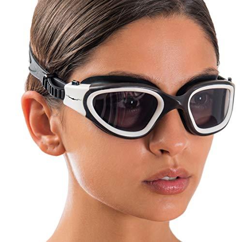 AqtivAqua Swim Goggles Swimming Goggles for Adult Men Women Kids Youth Girls Boys Childrens DX (White, Shade)