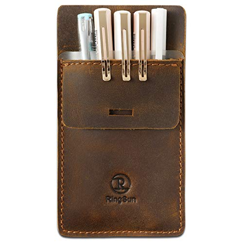 RingSun Pocket Protector, Leather Pen Pouch Holder Organizer, Full Grain Leather Pen Holder Pouch for Heavy Duty Shirts, Hold 6 Pens, Pocket Protectors for Pens and Pencils