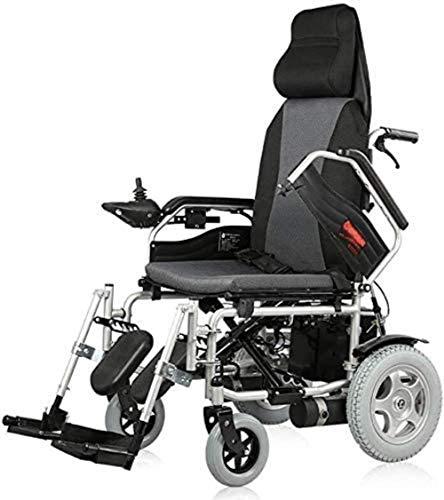 Rollstuhl-Hochleistungs-elektrischer Rollstuhl mit Kopfstütze, faltbarer und leichter angetriebener Rollstuhl, Sitzbreite 45 cm, einstellbarer Rückenlehnenwinkel, 360 ° Joystick, Gewichtskapazität 100