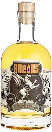 Breaks RESERVE Gin - Fassgelagert - Ausgezeichneter Gin im Holzfass gereift - Goldgelb - Räucheraromen - Handmade - 1 x 0,5 L