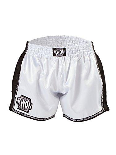 Kwon Short de boxe professionnel Evolution - Noir/blanc/argenté - Blanc - XS