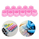 Tattoo Shop Professional Palette,Tattoo Ink Caps Cups - Tattoo Ink Palette, Convenient Color, Large Capacity, Light Weight, Easy To Clean 200pcs(Pink)