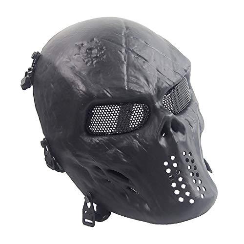 Sensong Airsoft Maske mit Metallgitter Augenschutz Halloween Skull Schutzmaske Taktische Full Face fur Paintball Softair CS Partyspiel Schwarz
