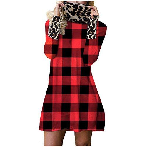 GOUWANdamen Freizeit Kleider Leopard Check Langärmeliges Kleid Fließendes Kleid Flowy Kleid Kleider midi a Linie Kleider midi