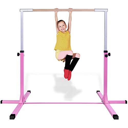 Costzon Junior Training Bar, Gymnastics Adjustable Steel Gymnastic Horizontal Bar (Pink)