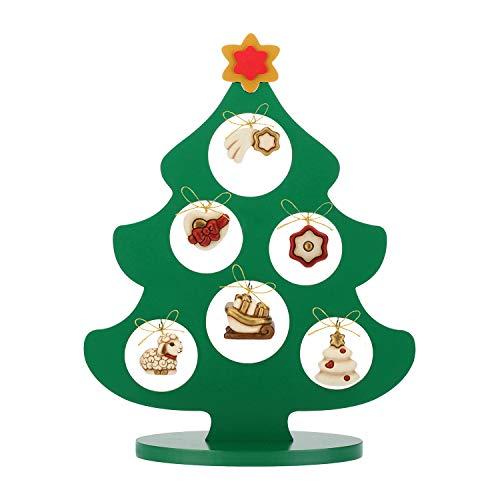 THUN  - Albero di Natale in Legno con 6 Mini addobbi - Ceramica - h 41,5 cm - Linea I Classici