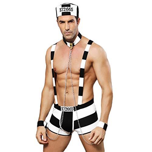 Fxwj Uomo Prigioniero Adulto Mankini Costume Ruolo Giocare Boxers Uniforme Vestito Sexy con Catena di Ferro