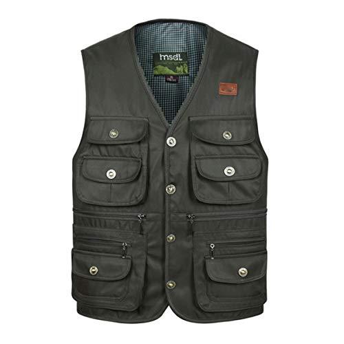 YDSH Mens Outdoor Sports Multi Pocket Jacket Vest Solid Color Tourist Vest Fishing Vest Hiking Vest