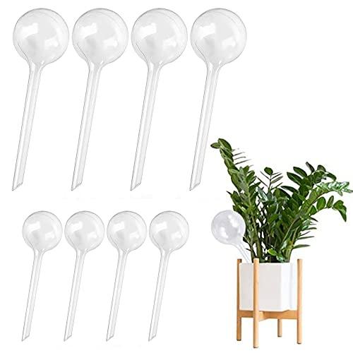 8 unidades de riego automático para plantas de riego automático para plantas, globos de riego para jardines, césped, macizos de flores (4 piezas grandes + 4 piezas pequeñas) (transparente)