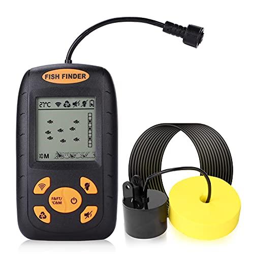 HUTACT Buscadores de Pesca Alarma 100M / 328ft Sensor de Sonar portátil Buscadores de Pesca con Cable LCD Profundidad buscador ecosonda