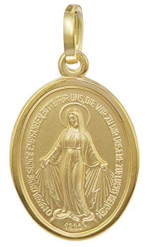 trendor Madonna Milagrosa Gold-Anhänger 8 Karat 16 mm zauberhafter Echtgold Anhänger für Damen und Herren, Abbild der Mutter Jesu, Goldschmuck, Madonna, 35771