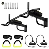 Odoland 3-in-1 Wall Mount Pull Up Bar, Chin Up bar and Dip Station for Indoor Home Gym Workout, Multifunction Fitness Set with Elastic Bands and Exercise Rings, Compact Power Tower Supports to 440 Lbs