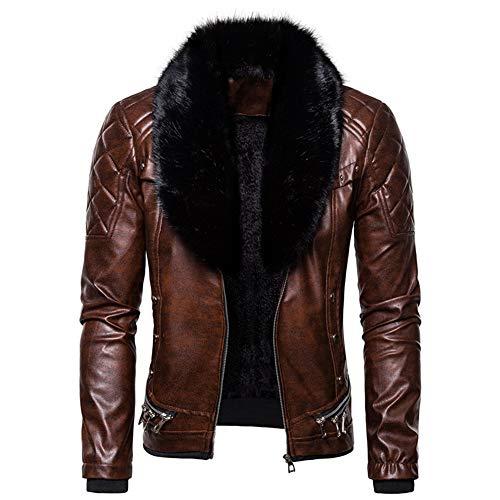 LuBHnna Chaqueta de cuero para hombre con cuello de piel extraíble, chaqueta de cuero de motociclista con bolsillo de vapor vintage