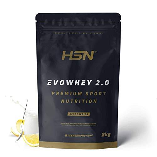 Concentrado de Proteína de Suero Evowhey Protein 2.0 de HSN | Whey Protein Concentrate| Batido de Proteínas en Polvo | Vegetariano, Sin Gluten, Sin Soja, Sabor Yogur Limón, 2Kg