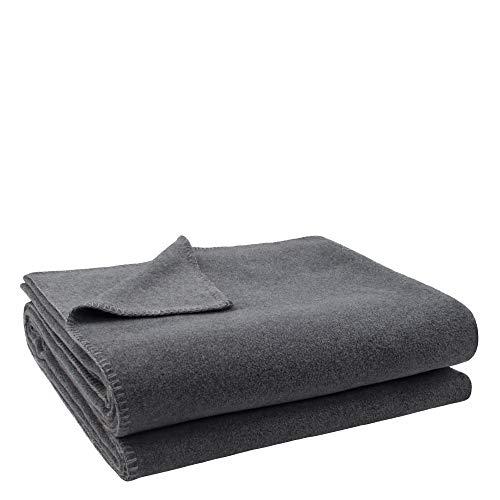 Soft-Fleece-Decke – Polarfleece-Decke mit Häkelstich – flauschige Kuscheldecke – 160x200 cm – 940 medium grey mel. – von 'zoeppritz since 1828', 103291-940-160x200