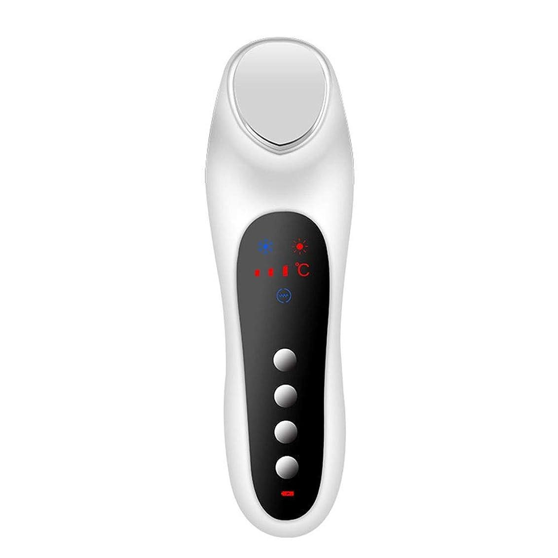 待って鏡専門化するスキンケア 家庭用USB充電冷温暖かいイオン深層導入デュアルモードホット&コールドスイッチング超音波振動マッサージマルチ運動エネルギー美容機器 (色 : White)