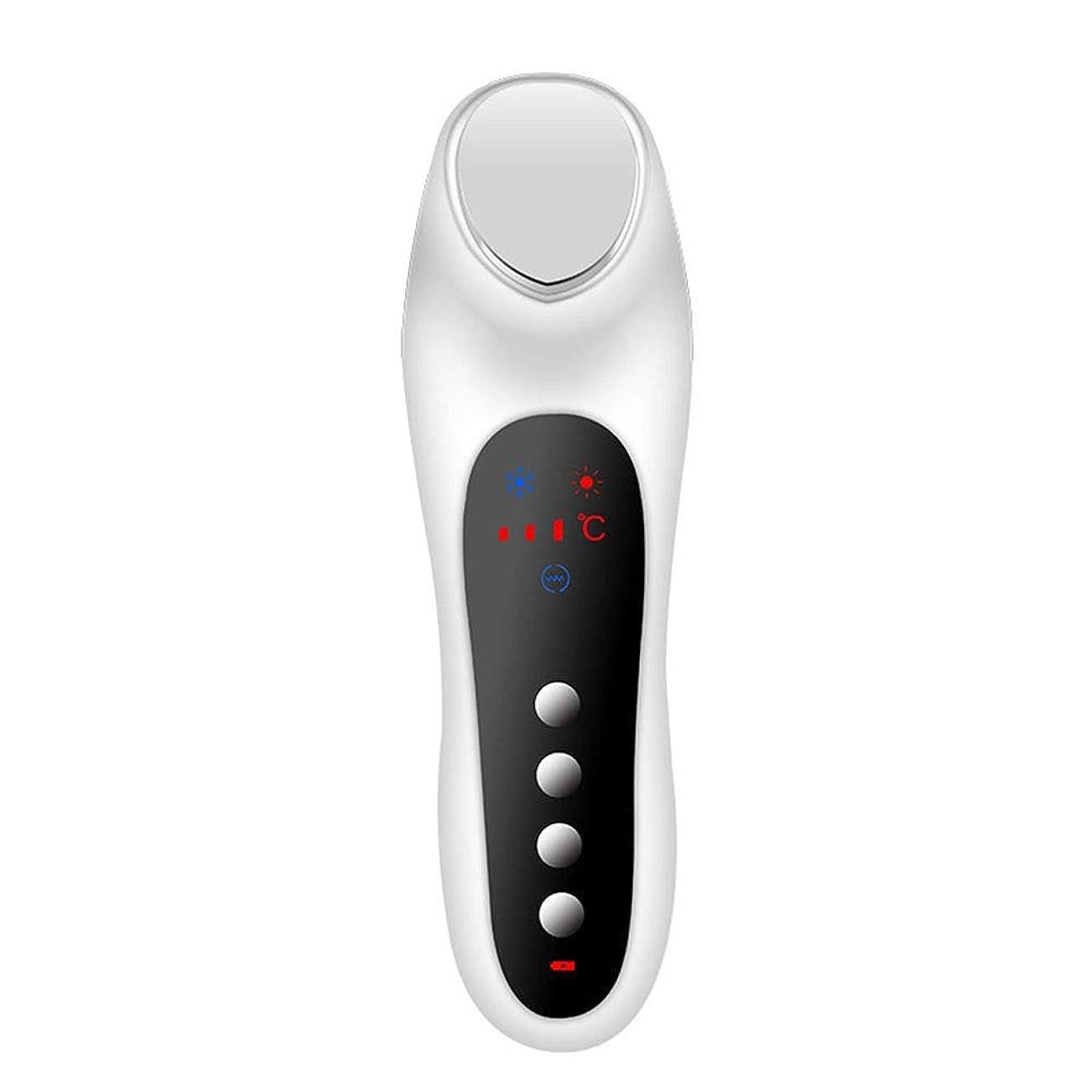 アーサー必需品真向こうスキンケア 家庭用USB充電冷温暖かいイオン深層導入デュアルモードホット&コールドスイッチング超音波振動マッサージマルチ運動エネルギー美容機器 (色 : White)