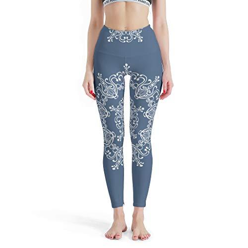 O2ECH-8 Damen Muster Fitness Leggings Damen Nicht Durchsichtig Weiches Leichtes Liniendesign mandela Slang Yoga Thermo Leggings Damen - Mandela Kunst