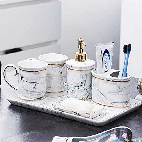 HKAFD Conjunto de Accesorios de baño de cerámica Europea de Lujo, 7 PCS Accesorios de baño con Bandeja, Incluye Taza de Cepillo de Dientes, dispensador de jabón, Caja de algodón, b (Color : B)
