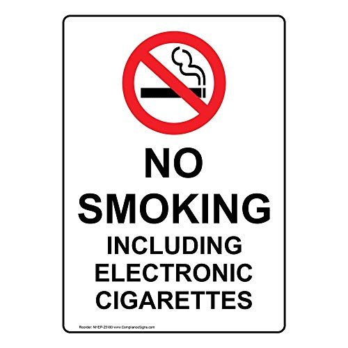 No Smoking Including Electronic Cigarettes Label Decal, 5x3.5 in. 4-Pack Vinyl for No Smoking by ComplianceSigns