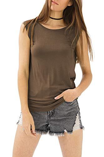 trueprodigy Casual Mujer Marca Camiseta De Tirantes Basico Ropa Retro Vintage Rock Vestir Moda Cuello Redondo Sin Manga Slim Fit Designer Fashion Top, Colores:Olive, Tamaño:XS