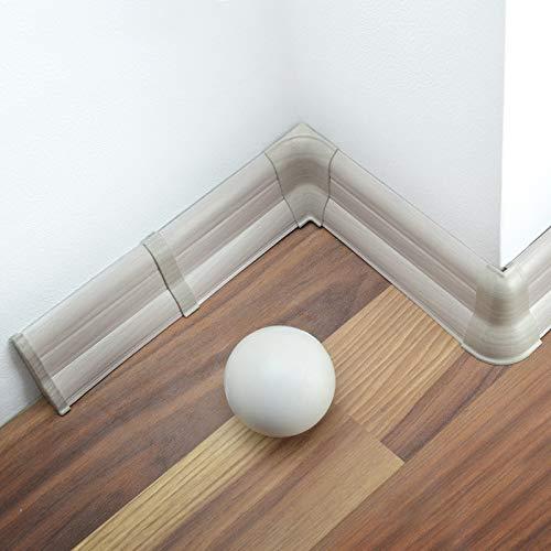 [DQ-PP] 20 Meter Sockelleisten 62mm PVC Esche grau Laminatleisten Fussleisten aus Kunststoff PVC Laminat Dekore Fußleisten