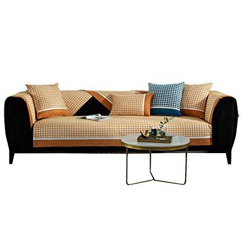 YUTJK Hahnentritt-Sofateppich, Für Haustiere Couch Sofa Überwürfe, Anti-rutsch Übergroßen Spitze Couch Sofa Überwürfe Couch-Shield, Sofaschoner, Für Ledersofas, Orange