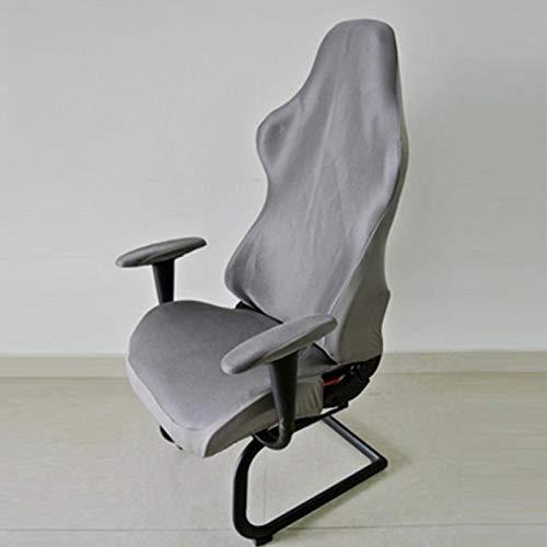 AUTUUCKEE Gaming-Stuhl-Überzüge, Stretch, ergonomisch, Computerstuhl, Schonbezug für Büro, Spiel, Liege, Rennen, gerüscht, Gamer Stuhlschutz (mit Armlehnen, grau)