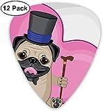 Púas de guitarra: paquete de 12, perro divertido presentable con un sombrero de copa y un bastón delante de un corazón gigante, para guitarra acústica eléctrica baja