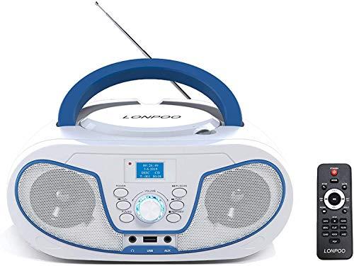 Lectores de CD portátiles,DAB+ Radio CD / MP3 Portátil Reproductor CD con Bluetooth/FM/USB/AUX-IN/Salida de Auriculares/Estéreo Altavoz