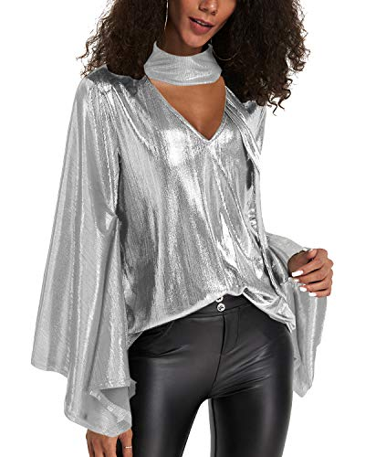 YOINS Sequin Sparkle Capes Tops for Women Sexy V Neck Chimney Collar Flared Sleeves Irregular Hem Party Club Blouses B-White XL