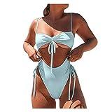 YANFANG Traje de baño del Bikini Las Mujeres empujan hacia Arriba el Vendaje Acolchado de una Pieza,Ropa de Playa sólida de Moda para Piscina