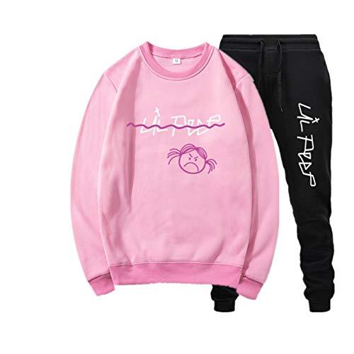 2 Piezas Lil Peep Accesorios Hip Hop Sport Pullover Sudaderas Pullover Lil + Peep + Sudadera con Capucha Sudadera Azul L