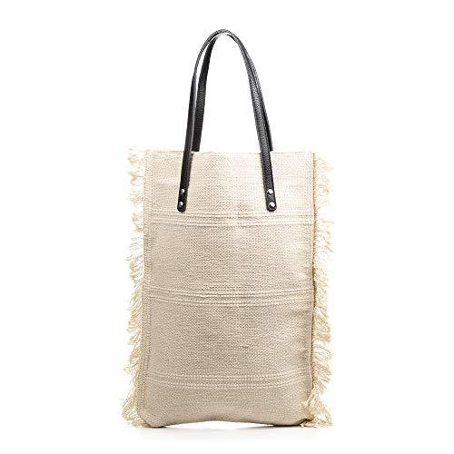 FIRENZE ARTEGIANI. Teresa Borsa Shopper Donna Tessuto Cotone Bouclé .Made in Italy.37x7x51 cm Colore: beige chiaro.
