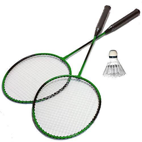 4-delige Veerbal badminton set 2 rackets 1 veer bal tas vrije tijd hobby sport spel 1 van 3 groen