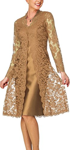 H.S.D Women's Sheath Short Satin Mother of The Bride Dress with Lace Jacket Gold